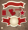 Vintage postcard designs and ribbon vector image vector image