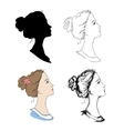 Woman head profiles vector image vector image