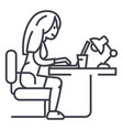 woman working on notebook in office or home vector image vector image