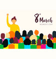 womens day card of diverse women group vector image vector image