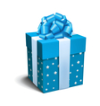 Blue Celebration Gift Box with Bow Isolated on vector image