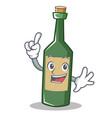 finger wine bottle character cartoon vector image