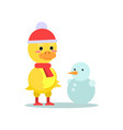 funny little yellow duckling with snowman cartoon vector image