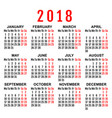 2018 year wall calendar grid template vector image vector image