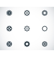 black gear icons set vector image vector image