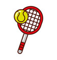 brightly tennis racket and ball cartoon vector image