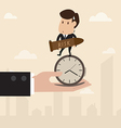 Businessman stand on the clock while carry bomb vector image vector image