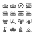 Car wash black icons set vector image