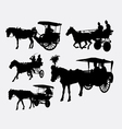 Carriage with horse animal silhouette vector image vector image