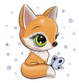 cartoon fox isolated on a white background vector image vector image