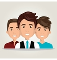 cartoon men team work isolated vector image