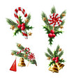 christmas bouquets with candies holly berries vector image vector image