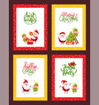 christmas set cards with cartoon characters vector image vector image