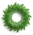 christmas wreath made of realistic looking pine vector image