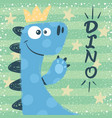 cute dino characters princess vector image vector image