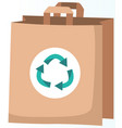 ecological bag with recycling symbol recycled vector image