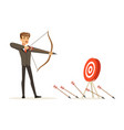 faiiled businessman with bow and arrow is aiming vector image vector image