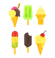 flat style set of tasty colorful ice cream icon vector image vector image