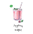 glass of raspberry cocktail in watercolor vector image vector image
