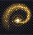 golden wave with light glowing effect shiny star vector image vector image