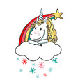 hand drawn cute magic unicorn with rainbow vector image