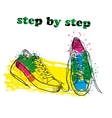 Hand drawn sport shoes with watercolor effect ink vector image vector image