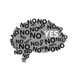 human brain silhouette with no and yes signs vector image