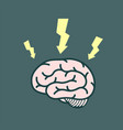 icon electrical discharges around the human brain vector image