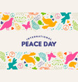 international peace day dove bird icon card vector image