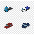 isometric automobile set of car truck lorry and vector image vector image