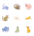 Kitty icons set cartoon style vector image vector image
