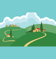 landscape with hills roads sky and settlements vector image vector image