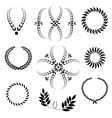 Laurel wreath tattoo set Black stylized ornaments vector image vector image