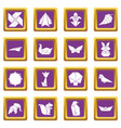 origami icons set purple square vector image vector image