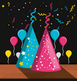 party hats decorative and balloons air vector image vector image