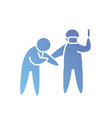 pictograph doctor with mouth mask and syringe vector image vector image