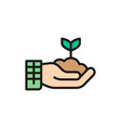 plant in hand gardening ecology flat color line vector image vector image
