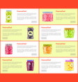 preserved food banners set of canned products vector image