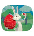 Rabbit Takes Selfie with Easter Egg Cartoon vector image vector image
