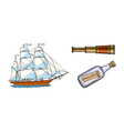 sailing ship telescope message in bottle vector image
