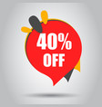 sale 40 off discount price tag icon business vector image