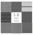 Seamless Black and White geometric background set vector image