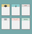 set of note cards template set on blue background vector image vector image