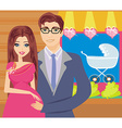 shopping couple awaiting baby vector image vector image