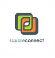 square connection logo vector image vector image