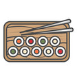 sushi set on plate icon vector image