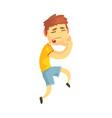 unhappy boy suffering from toothache cartoon vector image vector image
