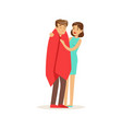 woman helping a man wrapped in red a blanket vector image vector image