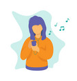 woman with phone music concept design vector image vector image