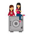 young women with security box and smartphone vector image vector image